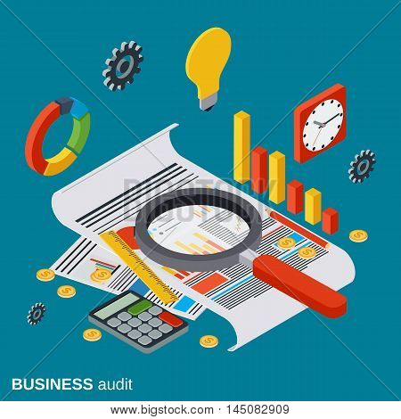 Business audit, analytics, report, financial statistic flat isometric vector concept
