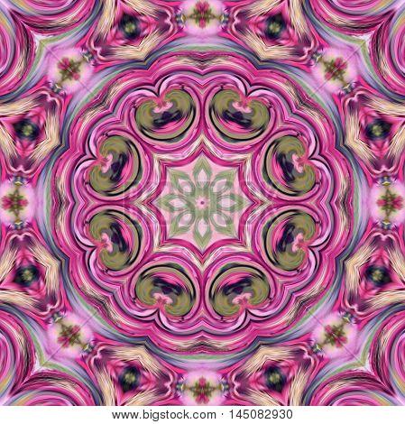 Glass vitrage mosaic kaleidoscopic seamless pink pattern background