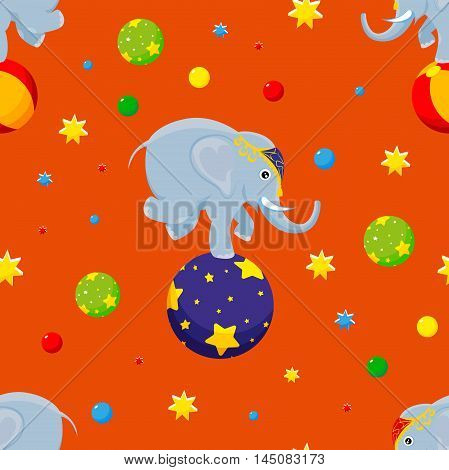 Seamless pattern Elephant on the ball surrounded by balloons and stars