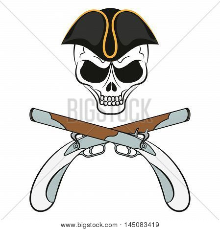Pirate sign: a skull in a cocked hat with guns