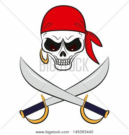 Pirate sign: a skull in red bandana with swords