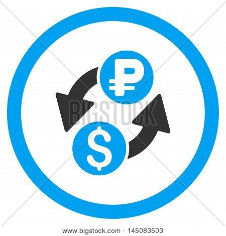 Dollar Rouble Exchange rounded icon. Vector illustration style is flat iconic bicolor symbol, blue and gray colors, white background.