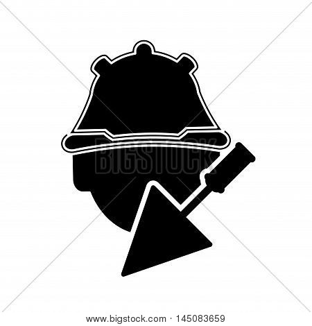 flat design construction worker and trowel icon vector illustration