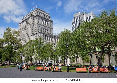 MONTREAL QUEBEC CANADA AUGUST 30 2016: Sunlife building in Montreal canada.The Sun Life Building is an historic office building at 1155 Metcalfe Street. Place ville Marie in background.