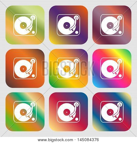 Gramophone, Vinyl Icon. Nine Buttons With Bright Gradients For Beautiful Design. Vector