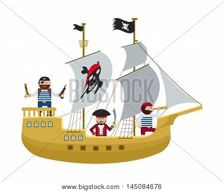 Pirate ship with skull and crossbones on sail and flag with pirates on board flat vector illustration