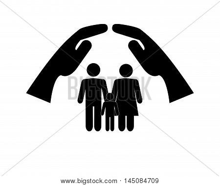 flat design sheltering hands and family pictogram icon vector illustration