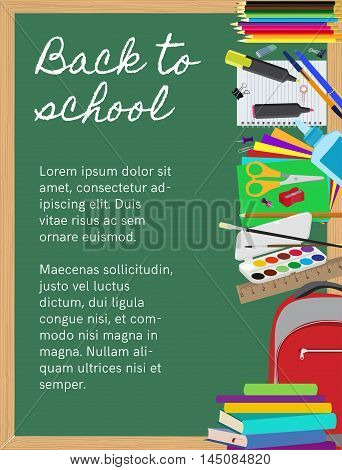 School supplies on chalkboard background. School supplies composition with copy space flat vector background. Objects are cut out with clipping path.