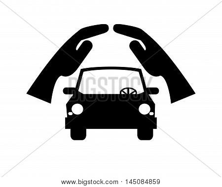 flat design sheltering hands and car icon vector illustration