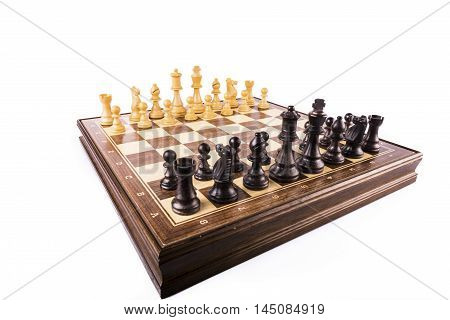 chess pawns lined up and isolated on white background