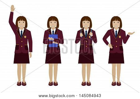 School girl in uniform blazer and skirt flat vector illustration Set of different poses - raising hand up, holding book, with backpack and presenting