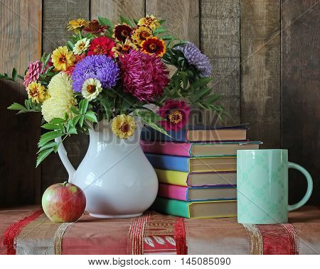 Books and bouquet. Back to school. September 1 knowledge Day. The teacher's day.