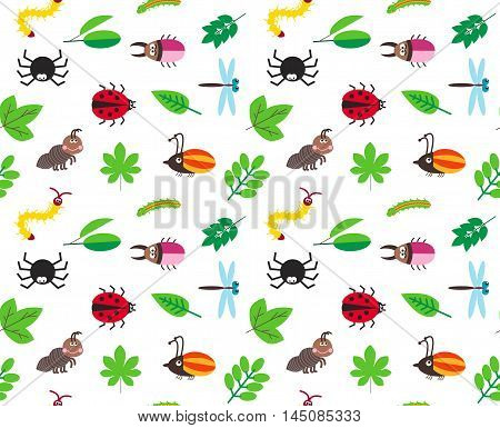 Funny cartoon insects and tree leaves vector seamless background, pattern with spider, bugs, dragonfly, caterpillar and ant