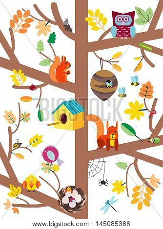 Autumn tree with colorful leaves, birds, animals and nesting boxes, insects flat vector illustration