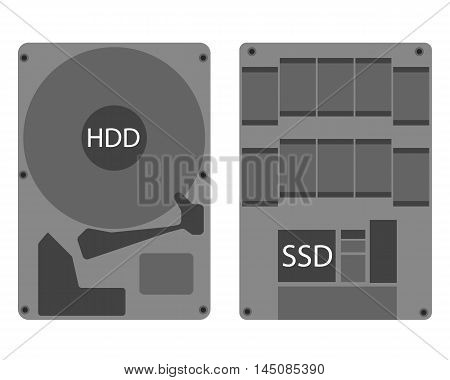 Hard disk drive hdd and ssd icon eps 10