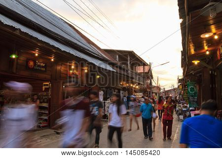 CHIANG KHAN THAILAND - DECEMBER 16: Chiang Khan's walking street with unidentified tourists on December 16 2015 in Chiang Khan Thailand.