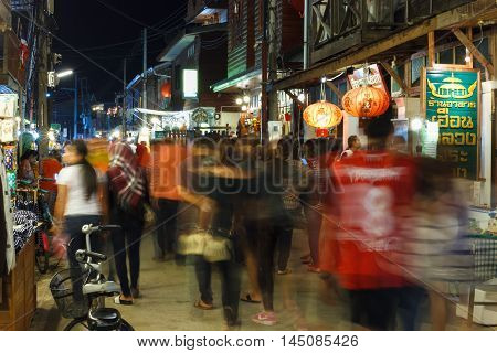 CHIANG KHAN THAILAND - DECEMBER 15: Unidentified tourists at Chiang Khan's walking street on December 15 2015 in Chiang Khan Thailand.