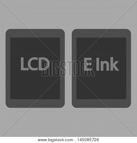 E-book reader, e ink and lcd vector icons set