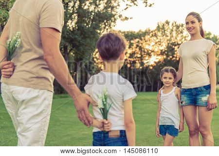 Family Playing Outside