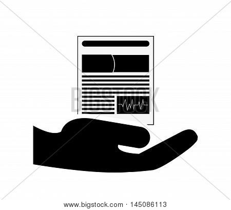 flat design sheltering hands and medical history icon vector illustration