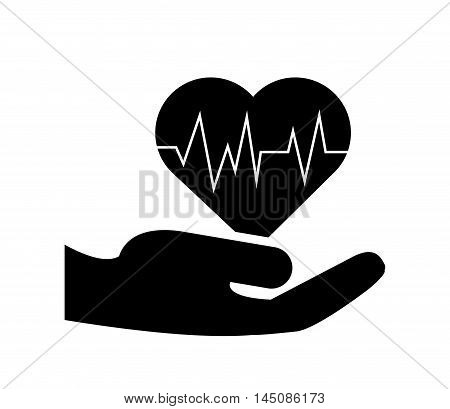 flat design sheltering hands and heart cardiogram icon vector illustration