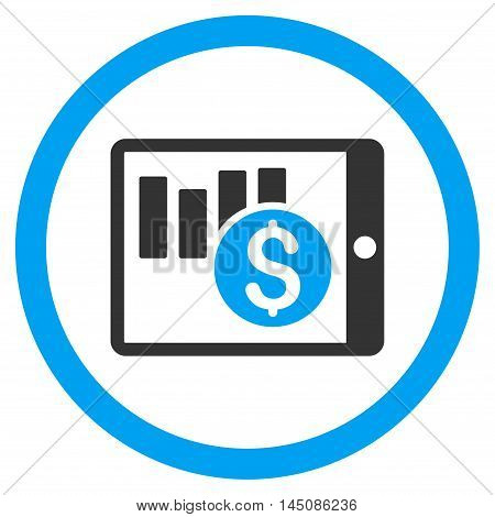 Sales Chart on Pda rounded icon. Vector illustration style is flat iconic bicolor symbol, blue and gray colors, white background.