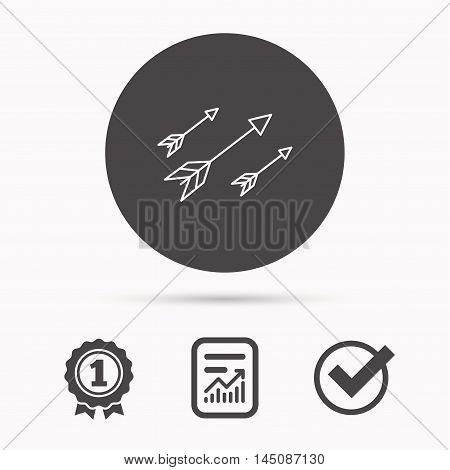 Bow arrows icon. Hunting sport equipment sign. Archer weapon symbol. Report document, winner award and tick. Round circle button with icon. Vector