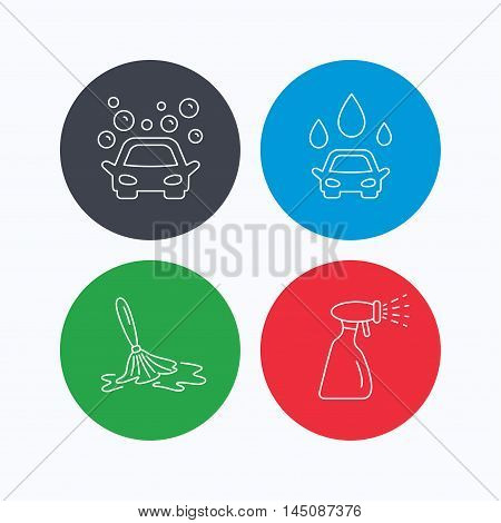 Car wash icons. Automatic cleaning station linear signs. Wet cleaning and spray flat line icons. Linear icons on colored buttons. Flat web symbols. Vector