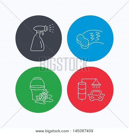 Car wash icons. Automatic cleaning station linear signs. Bucket with foam bubbles, sponge and spray flat line icons. Linear icons on colored buttons. Flat web symbols. Vector