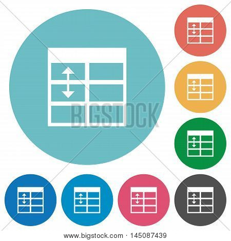 Flat Spreadsheet adjust table row height icon set on round color background.