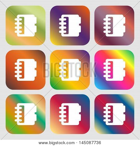 Notepad, Calendar Icon. Nine Buttons With Bright Gradients For Beautiful Design. Vector