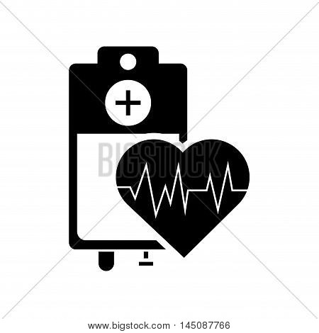 flat design iv drip bag and heart cardiogram icon vector illustration