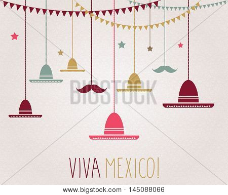 Viva Mexico. Independence Day. Hanging colorful sombrero and mustache.  Vector illustration.