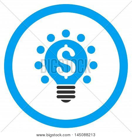 Business Patent Bulb rounded icon. Glyph illustration style is flat iconic bicolor symbol, blue and gray colors, white background.