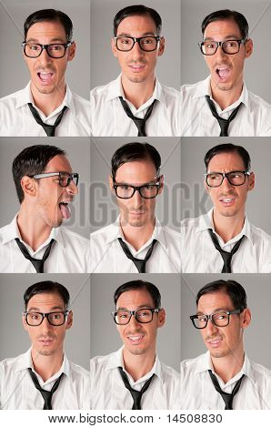 Multiple shots of nerd with various expression