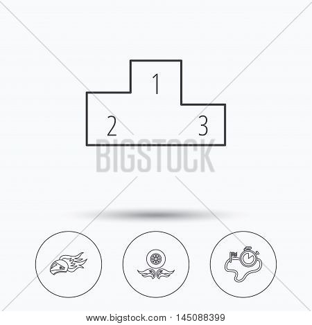 Winner podium, race timer and wheel on fire icons. Motorcycle helmet on fire linear sign. Linear icons in circle buttons. Flat web symbols. Vector