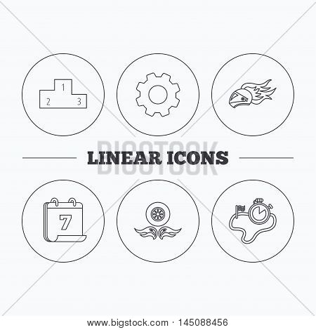 Winner podium, race timer and wheel on fire icons. Motorcycle helmet on fire linear sign. Flat cogwheel and calendar symbols. Linear icons in circle buttons. Vector