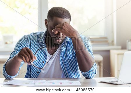Afro American Businessman At Home