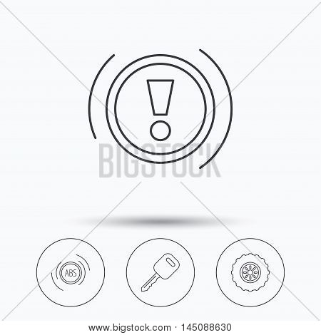 Car key, abs and wheel icons. Warning ABS, attention linear signs. Linear icons in circle buttons. Flat web symbols. Vector