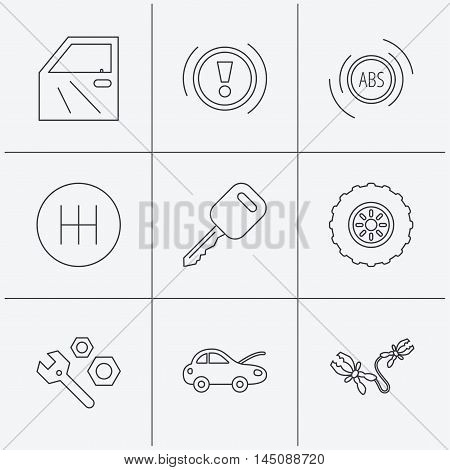 Car key, repair tools and manual gearbox icons. Wheel, warning ABS and battery terminal linear signs. Linear icons on white background. Vector