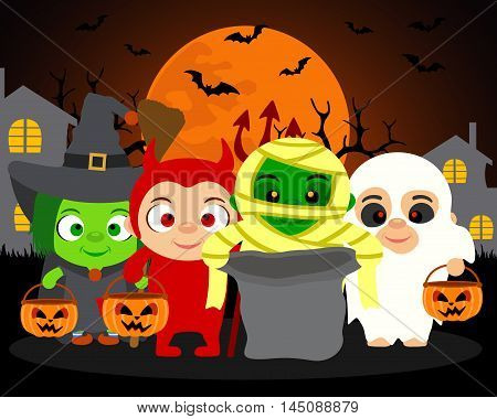 Trick or Treat vector Halloween background with kids in Halloween costume
