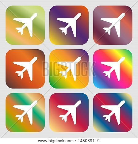 Airplane Icon. Nine Buttons With Bright Gradients For Beautiful Design. Vector