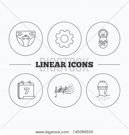 Diapers, newborn baby and songs for kids icons. Beach bucket linear sign. Flat cogwheel and calendar symbols. Linear icons in circle buttons. Vector