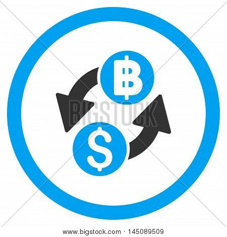 Dollar Baht Exchange rounded icon. Glyph illustration style is flat iconic bicolor symbol, blue and gray colors, white background.