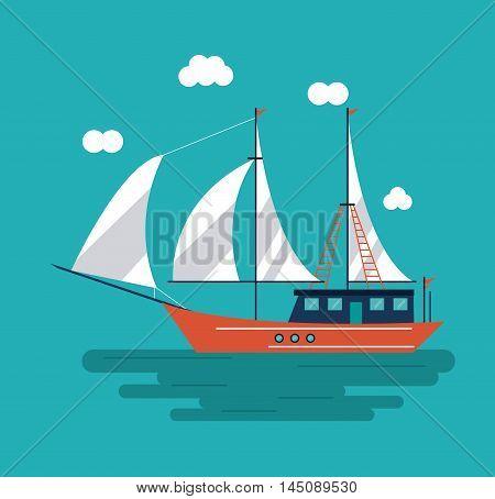 sailboat ship clouds sea ocean transportation icon. Colorful design. Vector illustration