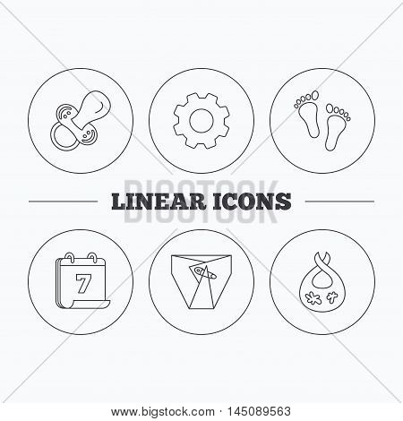 Pacifier, footprint and child diapers icons. Dirty bib linear sign. Flat cogwheel and calendar symbols. Linear icons in circle buttons. Vector