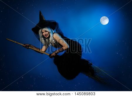 flying witch with a broom