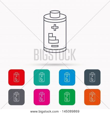 Battery icon. Electrical power sign. Rechargeable energy symbol. Linear icons in squares on white background. Flat web symbols. Vector