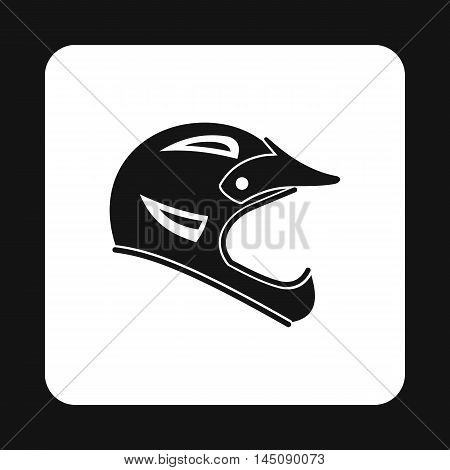 Helmet for motorcyclist icon in simple style isolated on white background. Head protection symbol