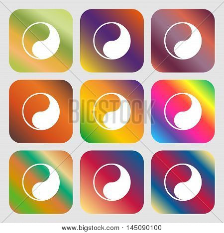 Yin Yang Icon. Nine Buttons With Bright Gradients For Beautiful Design. Vector